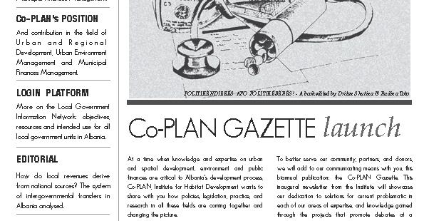 Co-PLAN Gazette 1
